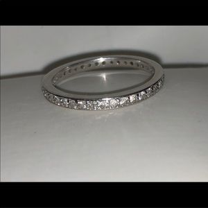 Women's 14 K white gold /Diamond wedding band .
